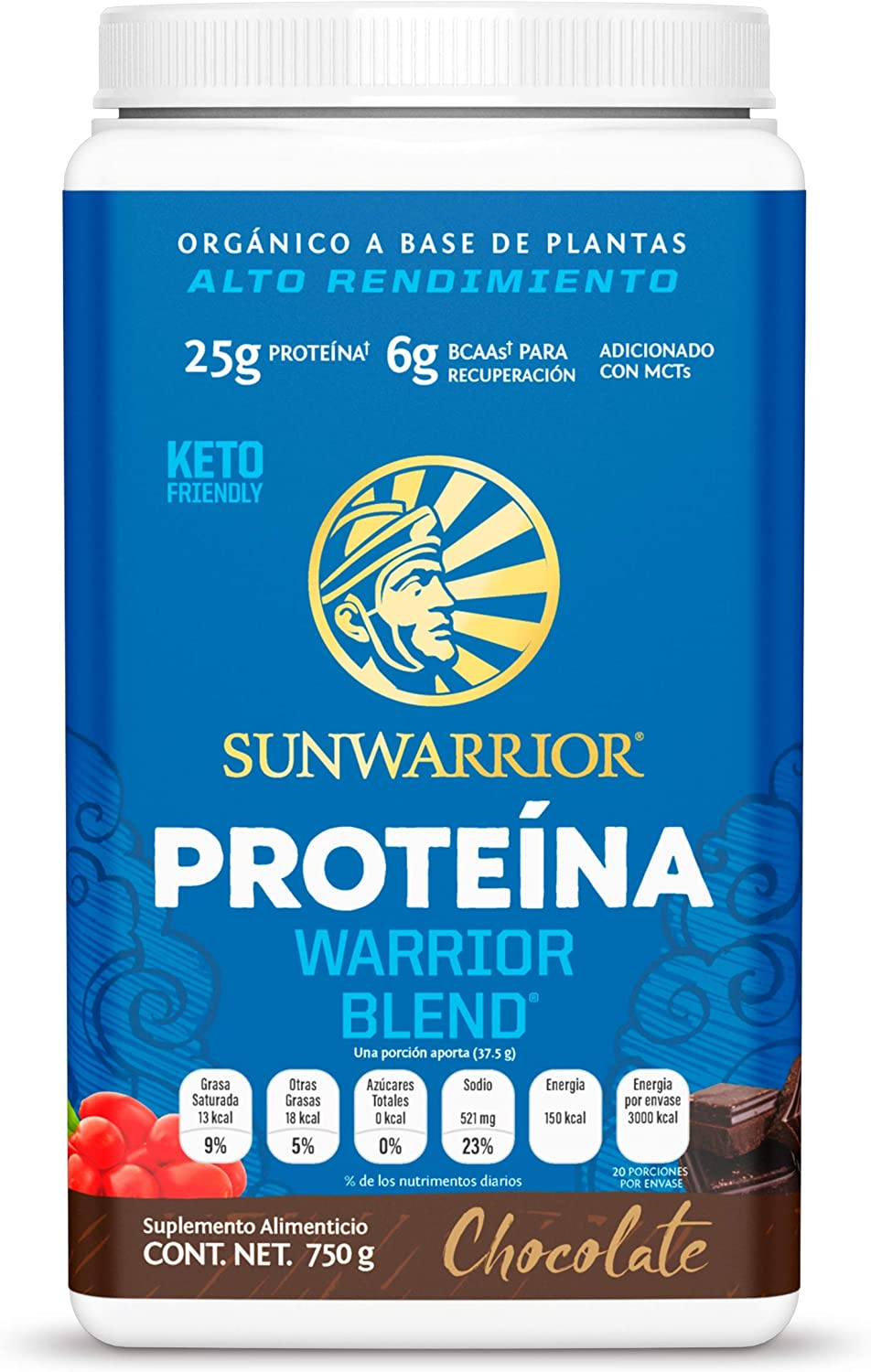 Amazon Com Sunwarrior Warrior Blend Organic Vegan Protein Powder With Bcaas And Pea Protein Chocolate 30 Servings Health Personal Care