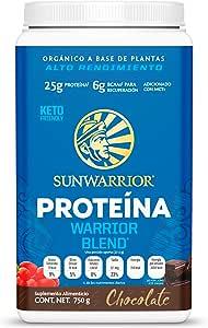 Sunwarrior Warrior Blend Chocolate - Proteina Vegetal Usda Organic 25g Proteina En Polvo Orgánica 750g, color, 750 gram, pack of/paquete de 1