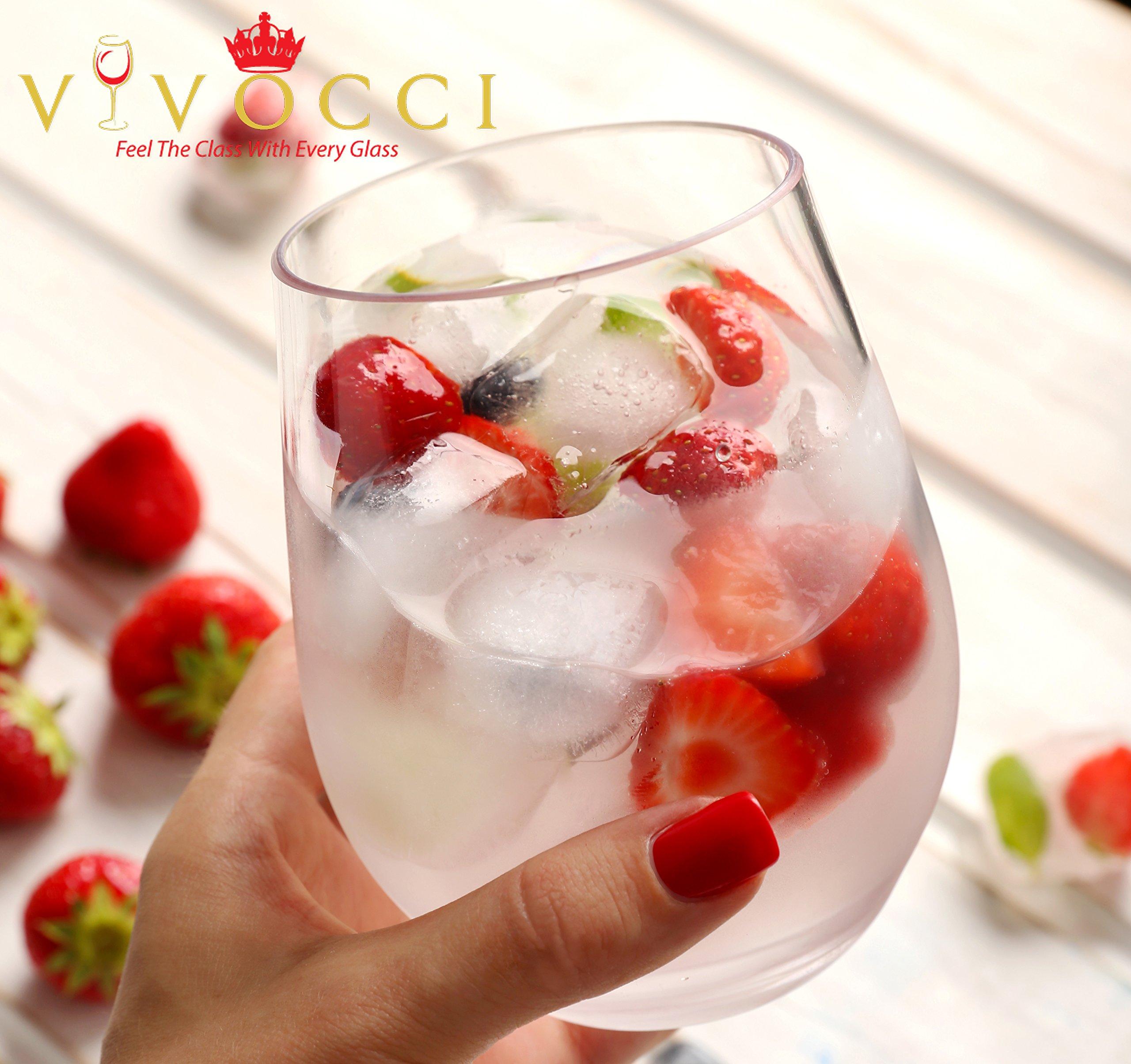Vivocci Unbreakable Elegant Plastic Stemless Wine Glasses 20 oz | 100% Tritan Heavy Base | Shatterproof Glassware | Ideal For Cocktails & Scotch | Perfect For Homes & Bars | Dishwasher Safe | Set of 2 by Vivocci (Image #3)