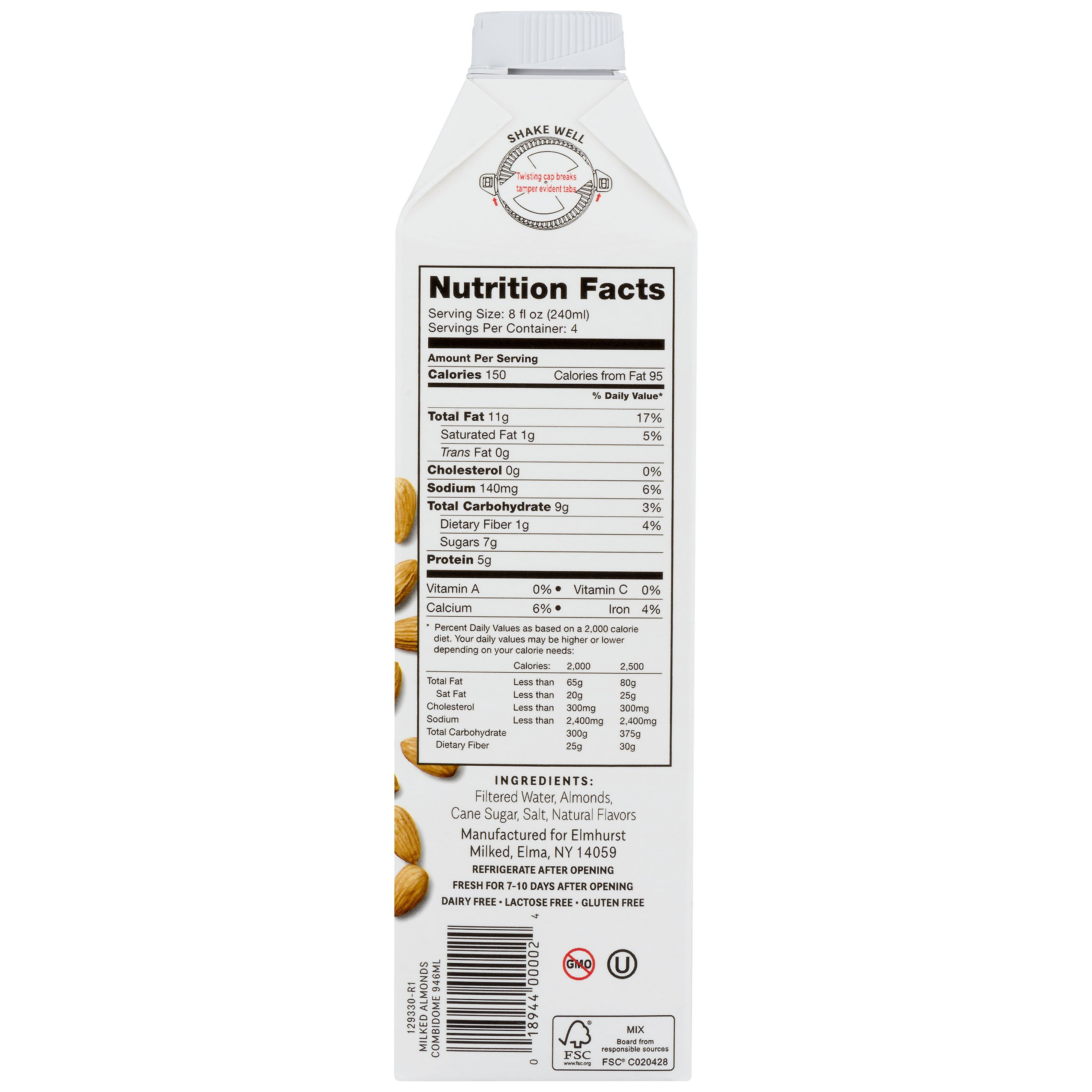 Elmhurst Milked - Almond Milk - 32 Fluid Ounces (Pack of 6) Only 5 Ingredients, 4X the Protein, Non Dairy, Keto Friendly, No Added Gums or Emulsifiers, Vegan by Elmhurst (Image #5)