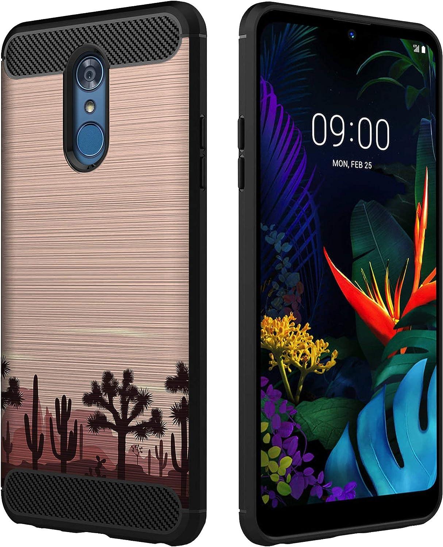 OmyBloom Phone Case Compatible with LG Stylo 4 / LG Q Stylus [Flexi Case w/Carbon Fiber Detail] Sunset Succulents Phone Case - Pink Sunset Cactus