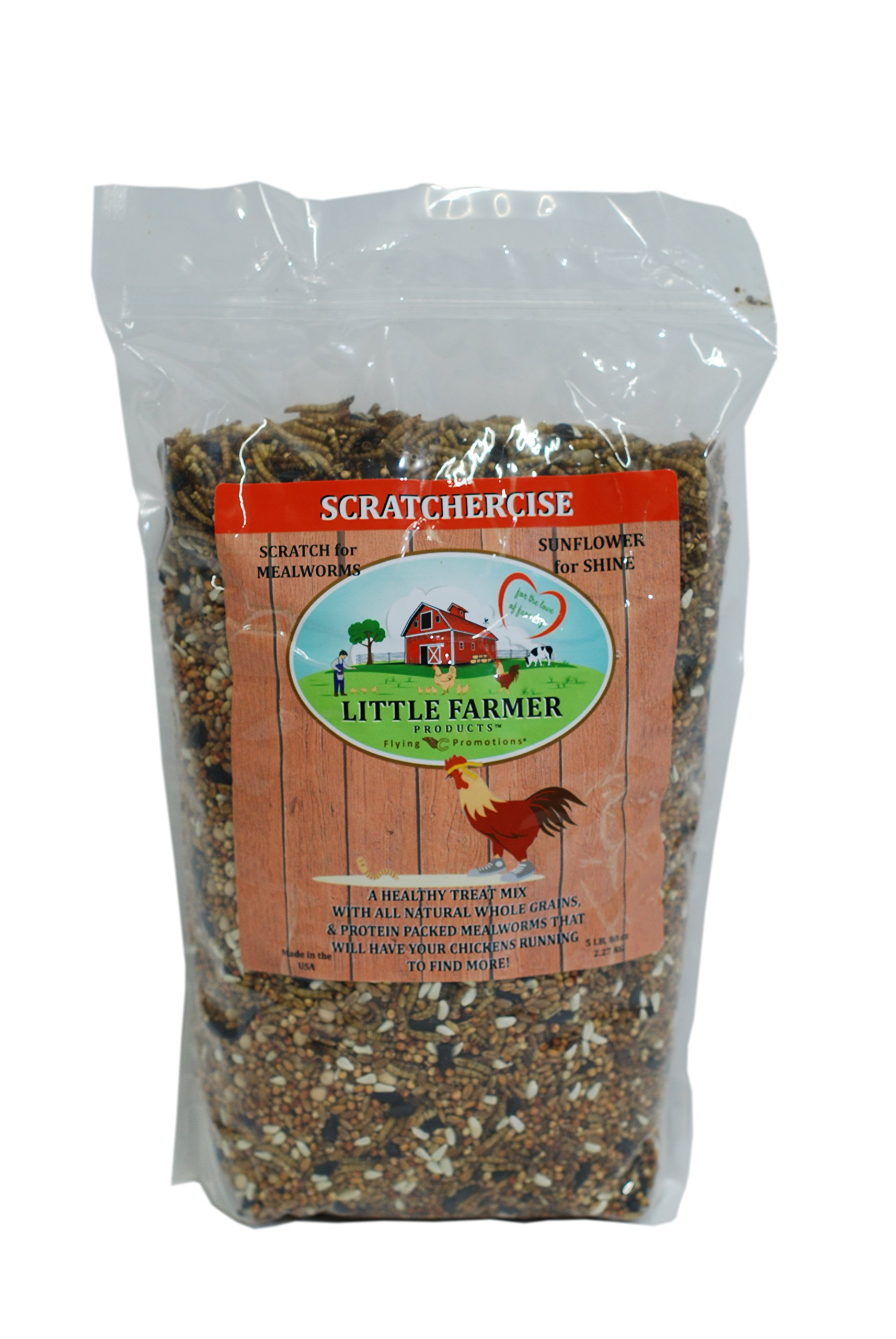 LITTLE FARMER PRODUCTS SCRATCHERCISE Premium Chicken Poultry Free-Range Scratch Treat Mix | Wheat, Milo, Peas, Sunflower, Safflower, Flax, Mealworms (5 lbs) by LITTLE FARMER PRODUCTS