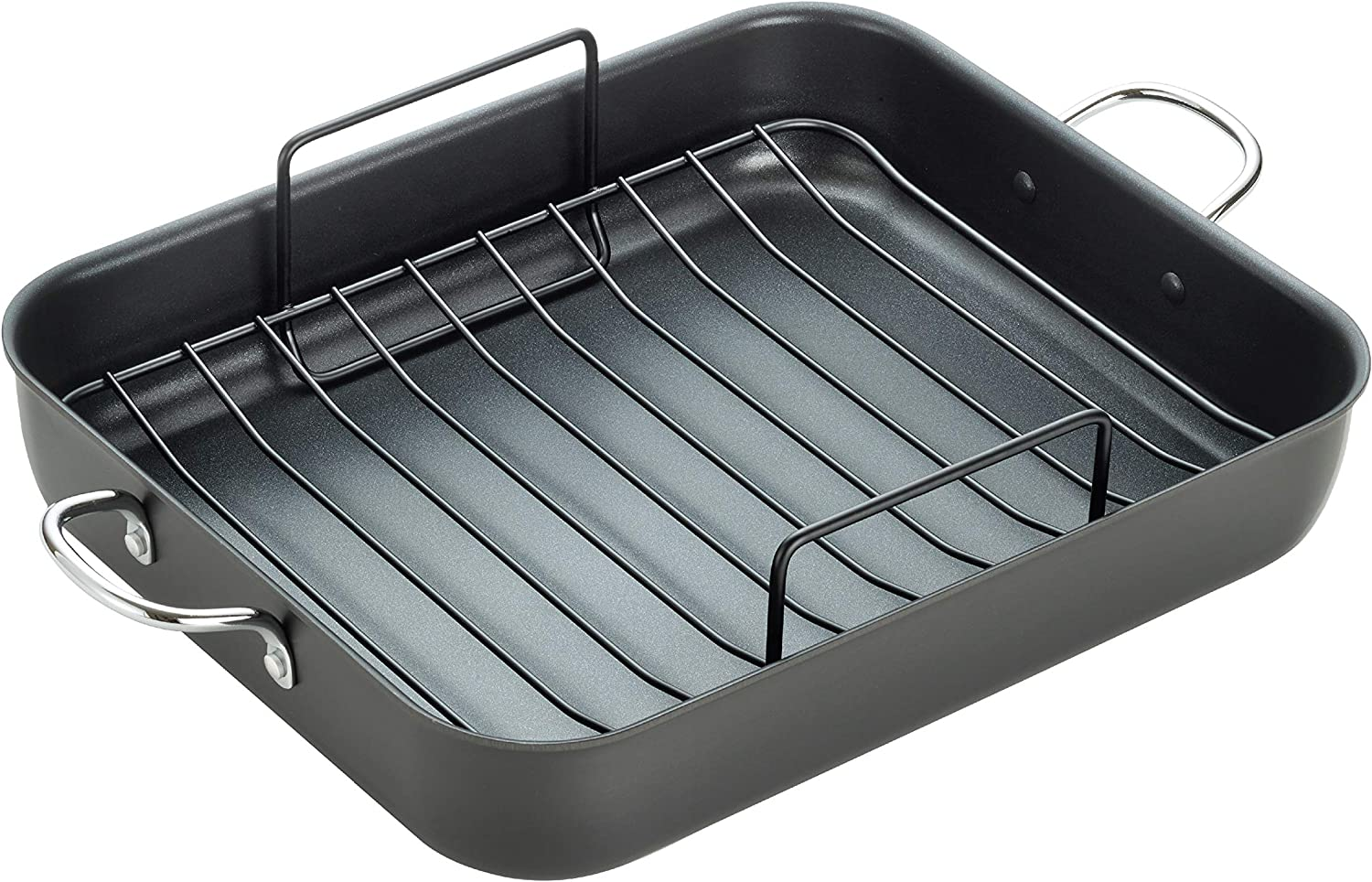T-fal, Ultimate Hard Anodized, Nonstick 16 In. x 13 In. Roaster with Rack, Black, J145S2, 16 Inch x 13 Inch, Grey