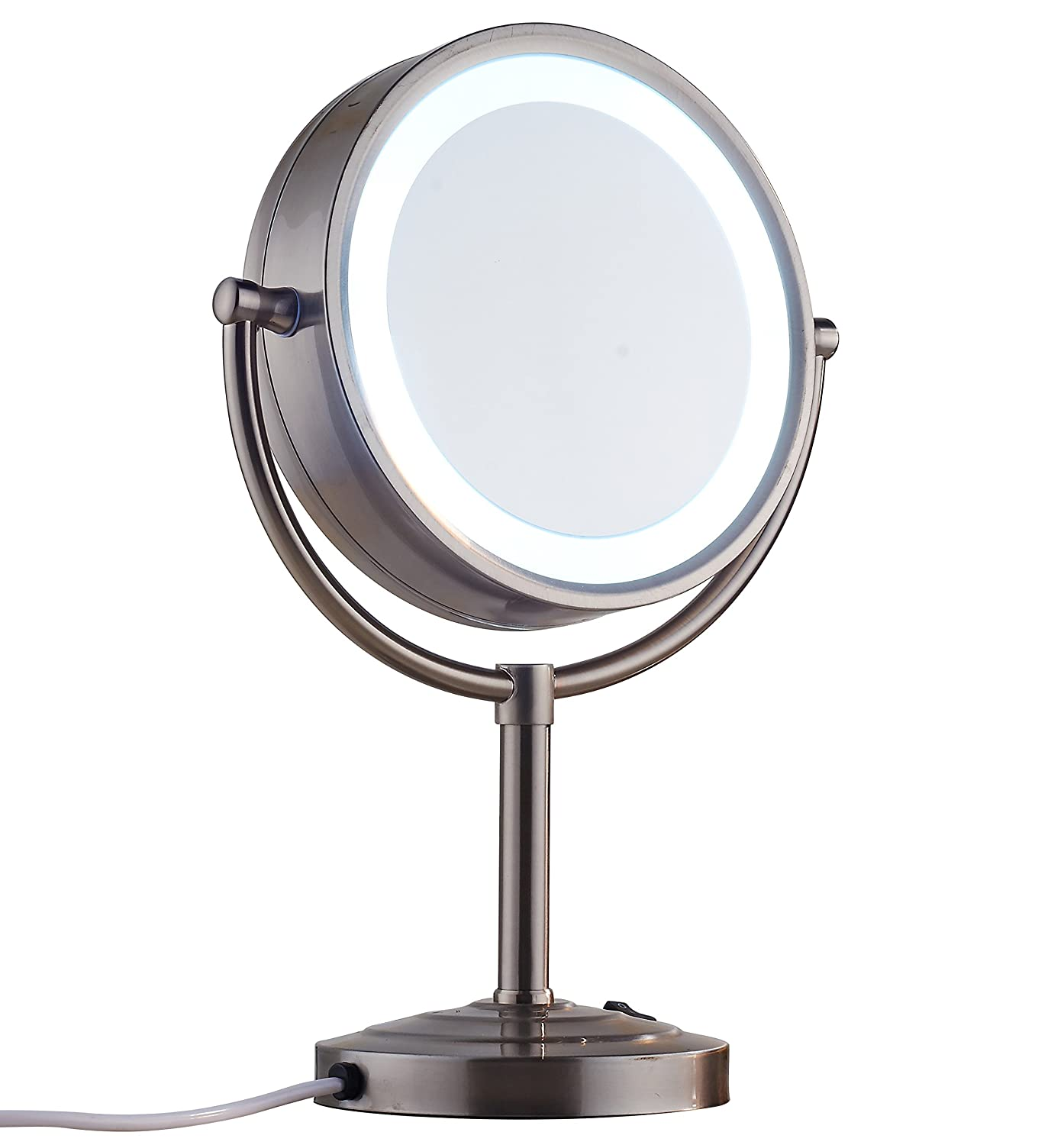 Cavoli 8.5 inch LED Makeup Mirror with 7x Magnification, Daylight Tabletop Two-sided,360 Swivel,Metal Glass, Plug Powered Nickel Finish 8.5in,7x