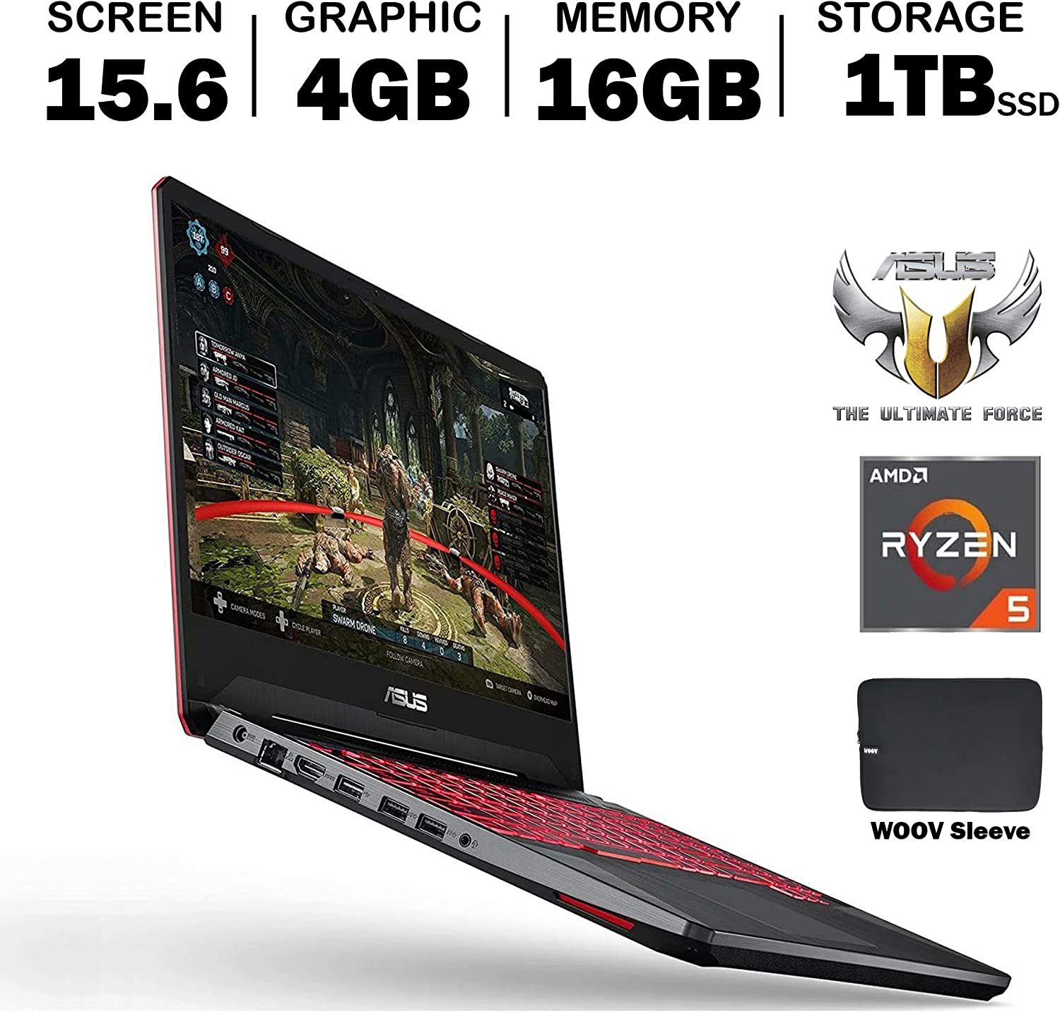 ASUS TUF FX505DT 15.6 Inch Full HD IPS Gaming Laptop, GeForce GTX 1650 4GB, AMD Ryzen 5 R5-3550H (Beat i7-7700HQ), 16GB DDR4, 1024GB PCIe SSD, RGB Backlit Keyboard, Windows 10, Woov Sleeve