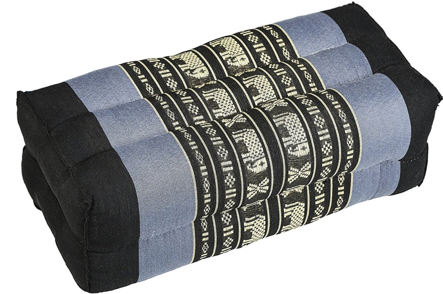 Thailand: Pillow Blue & Black Striped Thai Elephant, Square Size: 14 x 6 ''x 4'' inches By Conserve Brand
