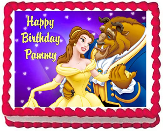 Beauty and the Beast Edible Icing  Image Cake Birthday Party Topper Personalised