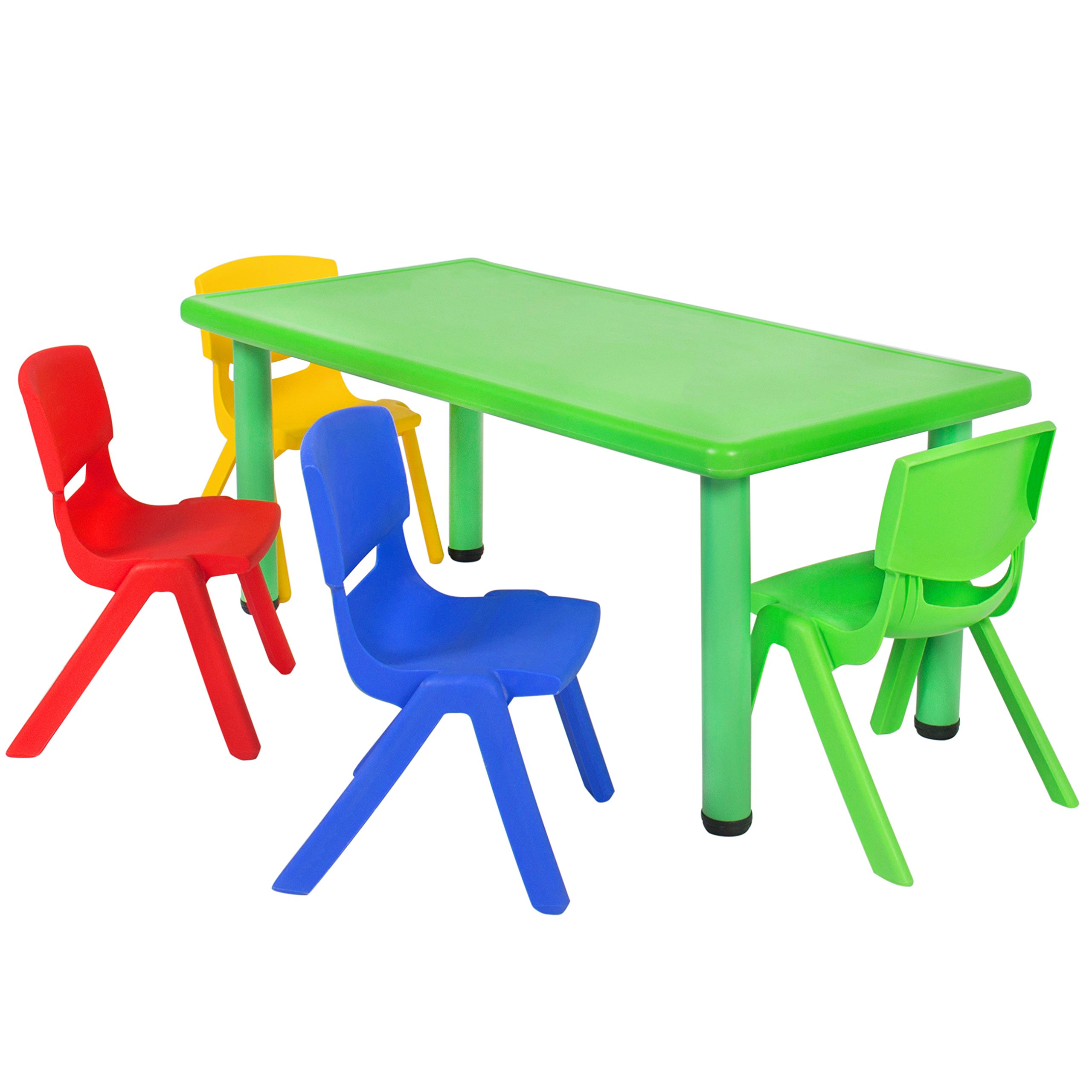 Best Choice Products Kids 5-Piece Plastic Activity Table Set with 4 Chairs, Multicolor by Best Choice Products