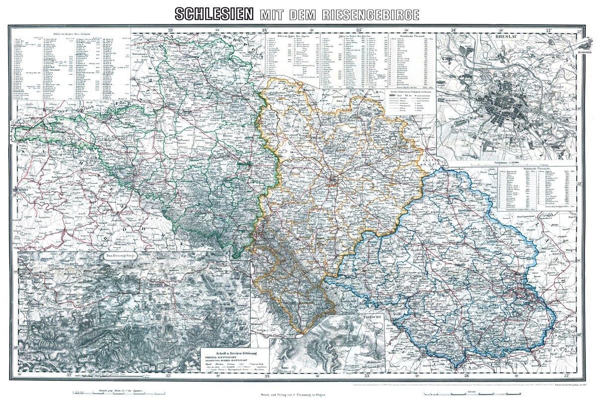 Historische Karte Schlesien Mit Dem Riesengebirge Um 1890 Plano