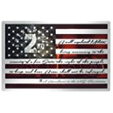 """2nd Second Amendment Man Cave Decor Metal Sign and Wall Art on American Flag 17""""x 11"""" - Silver Theme - Perfect for Indoor Decorations Gift Ideas or Support Guns - Made in USA"""