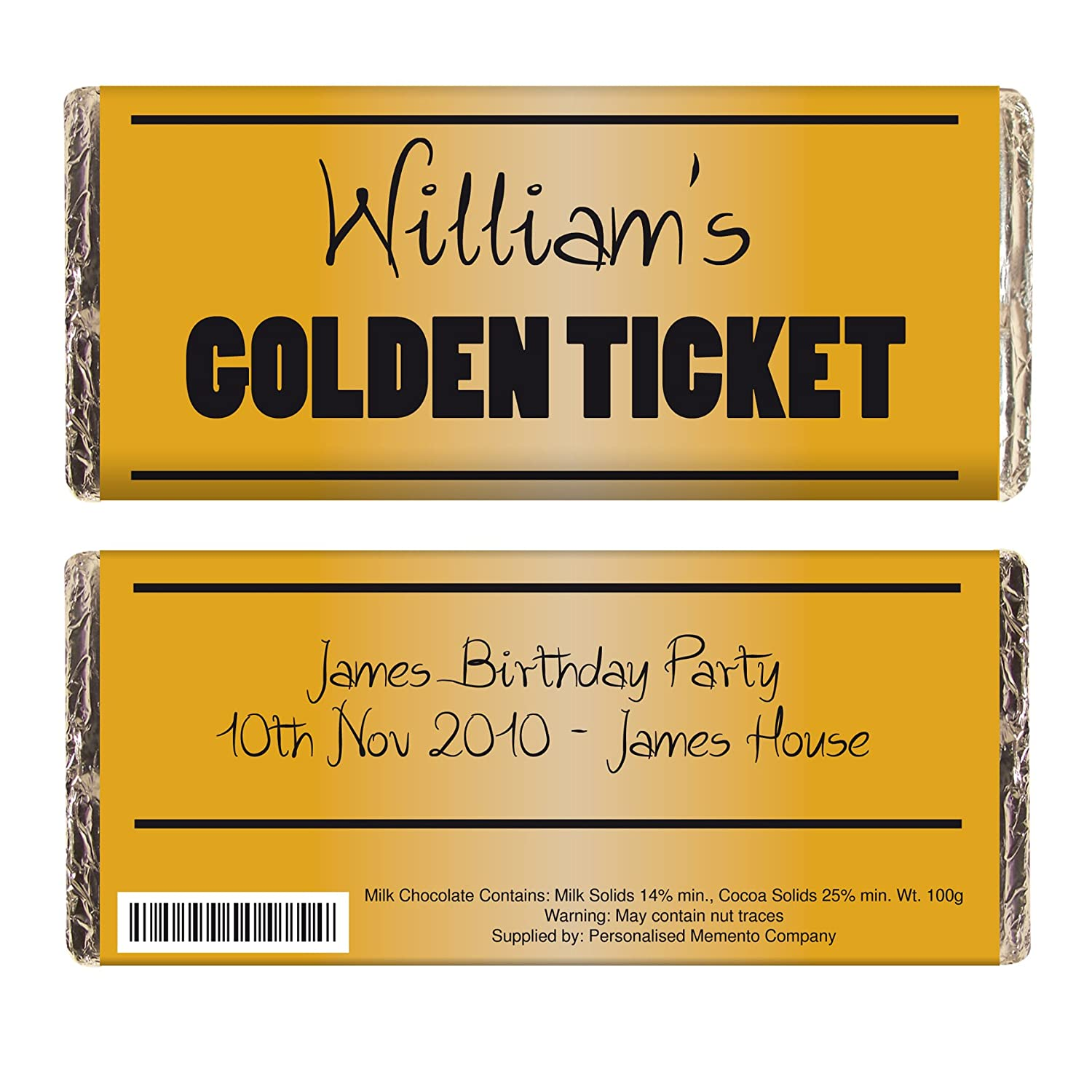 Personalised Golden Ticket Chocolate Bar: Amazon.co.uk: Garden ...