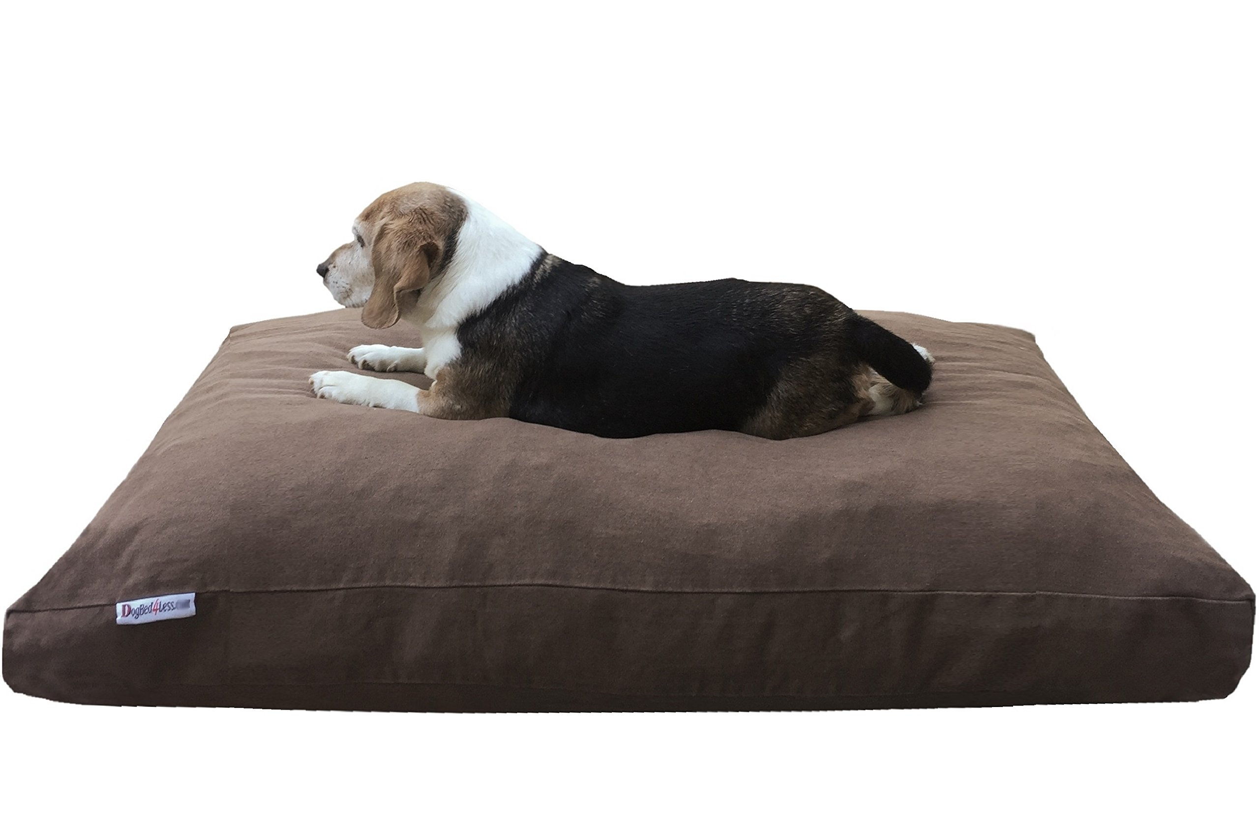 Dogbed4less Extra Large Memory Foam Dog Bed Pillow with Orthopedic Comfort + Waterproof Liner and Durable Pet Bed Denim Cover 47''X29'', Brown