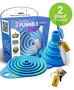 Kitchen Collapsible, Flexible Silicone Funnels, Large And Small Funnel Set, For Oil, Food And Water Bottels, BPA-Free + Brush, Hook and Recipes E-Book | By Lebice
