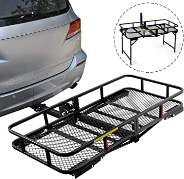 Leader Accessories Hitch Mount Cargo Basket Folding Cargo Carrier Luggage Basket 60 L x 24 W x 6 H with 500 LB Capacity Fits 2 Receiver