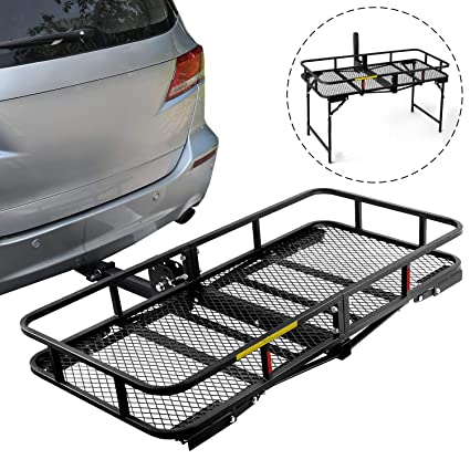 8ef83b01d77e Leader Accessories Hitch Cargo Carrier With Stand Foldable Cargo Basket 60