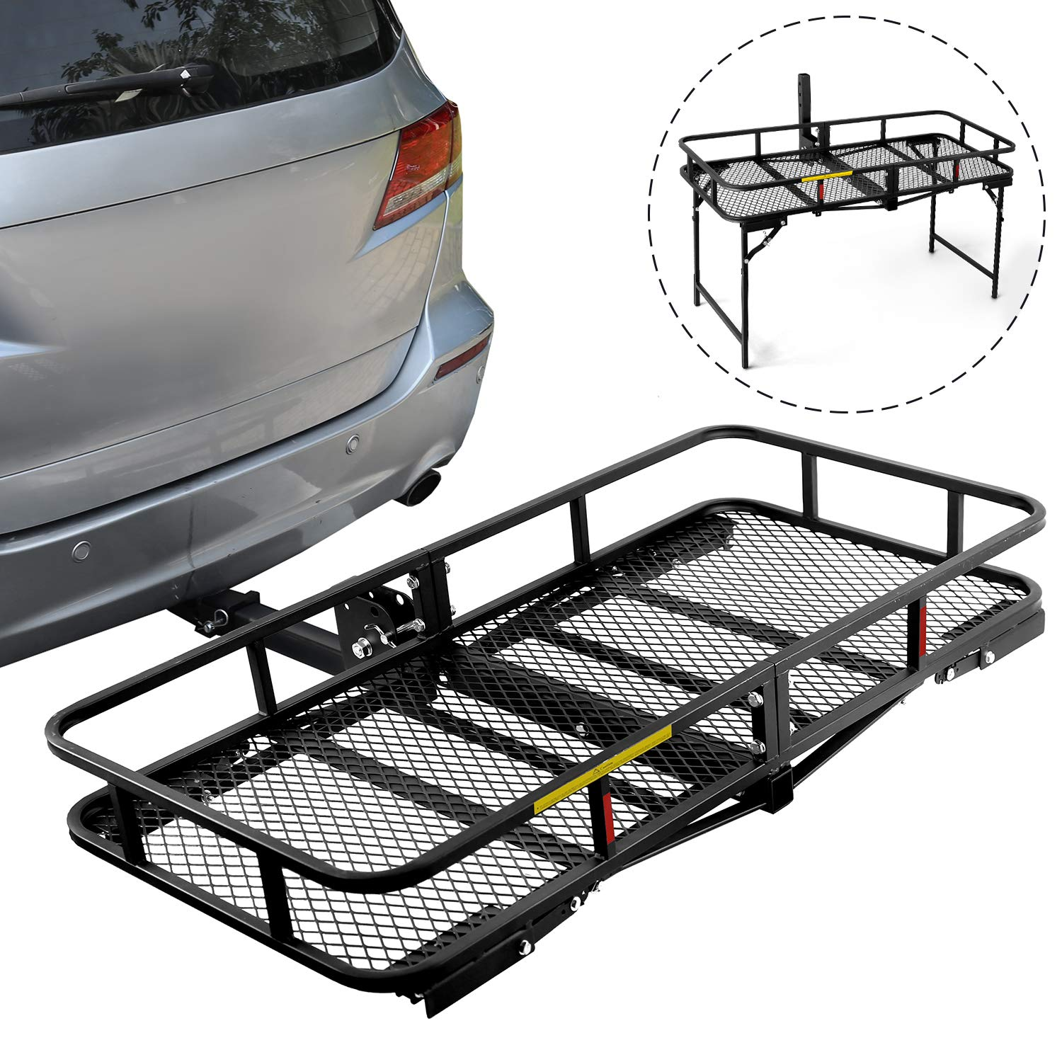 Leader Accessories Hitch Cargo Carrier With Stand Foldable Cargo Basket 60'' L x 24'' W x 6'' H with 500 LB Capacity Fits 2'' Receiver