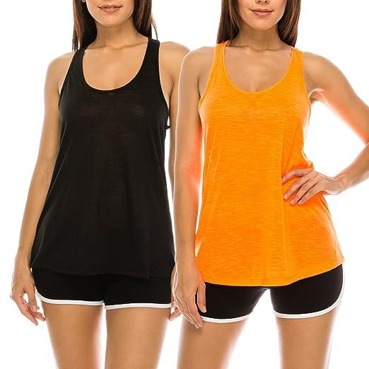 52724a69e0ebf8 EttelLut Flowy Loose Neon Razorback Athletic Exercise Workout Basic Yoga Tank  Tops Packs Black Orange