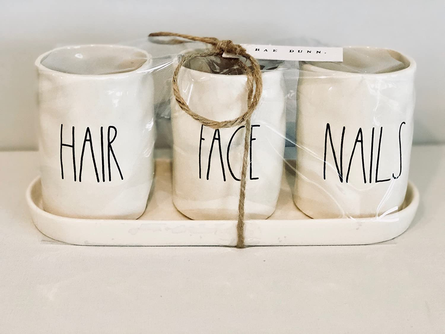 Rae Dunn by Magenta Artisan Collection, set of 3 cosmetic holders - HAIR FACE NAILS with tray