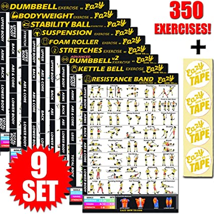 9 Pack Exercise Banner Poster Total Body Workout Fitness Chart Train