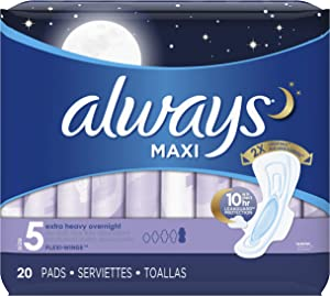 Always Maxi Extra Heavy With Wings Overnight Pads, 20 Each (Pack of 2)