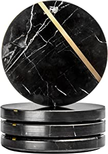 """Thistle Row Black Marble Coasters for Drinks w/Gift Box, Set of 4 Black Marble Coasters, 4"""" Wide Modern Coasters 