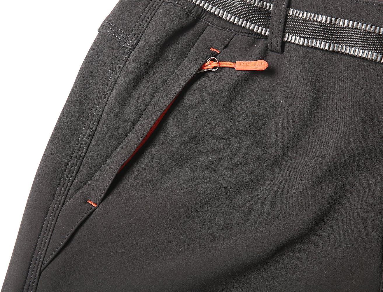PECTNK Mens Outdoor SoftShell Trousers Polar Fleece Transparent Waterproof Membrane