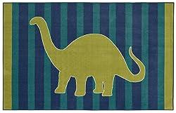 Mohawk Home Aurora Friendly Dinosaur Striped Kids Area Rug, 5' x 8', Blue