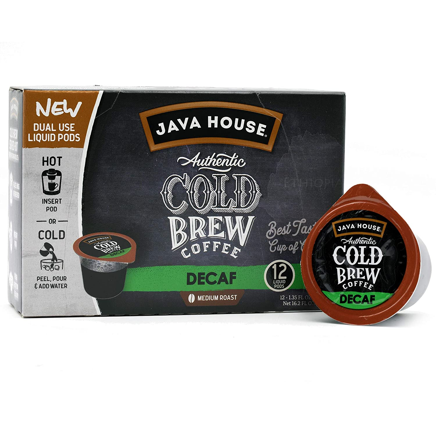 Java House Cold Brew Coffee Concentrate Single Serve Liquid Pods - 1.35 Fluid Ounces Each (Decaf, 12 Count)