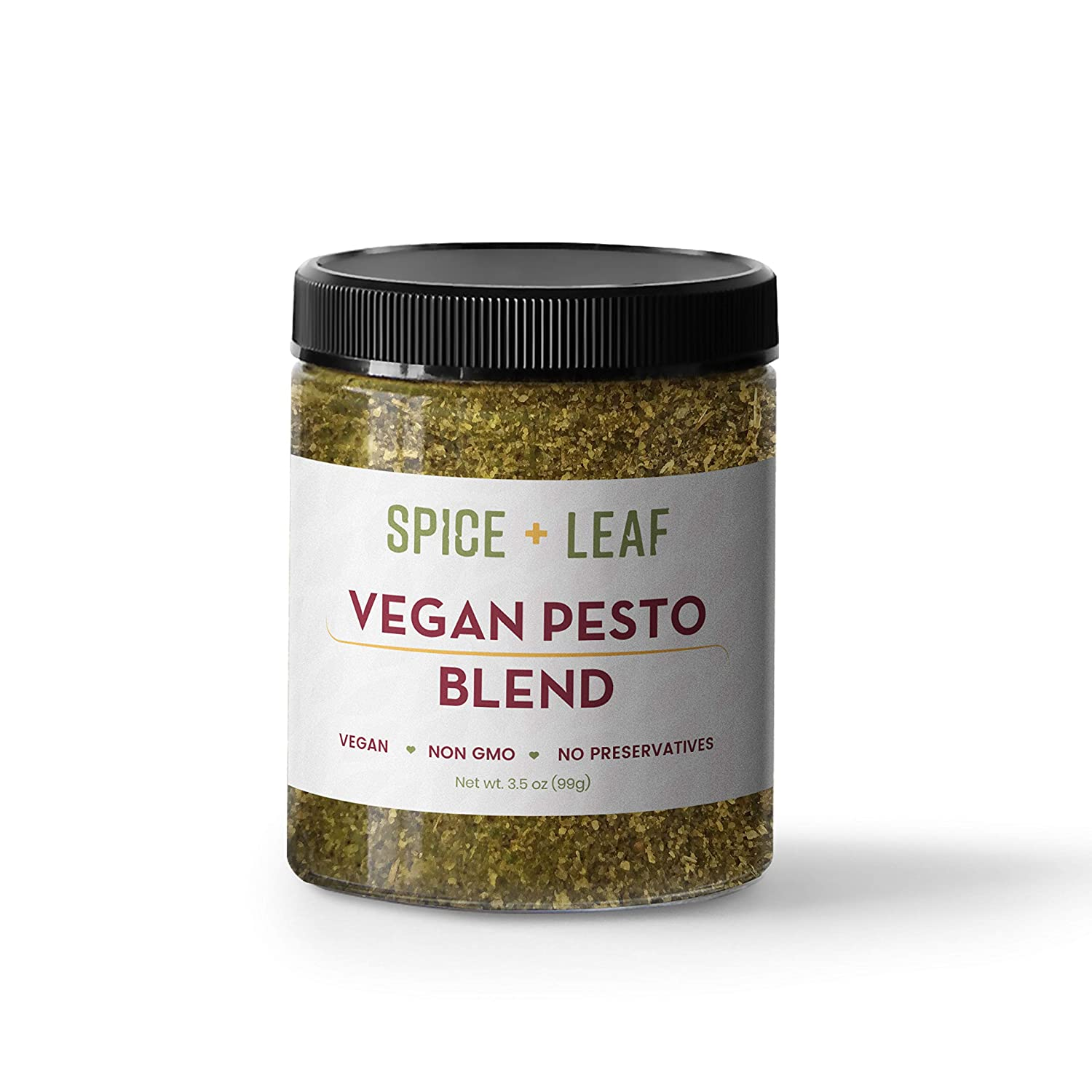 Premium Vegan Pesto Blend by Spice + Leaf - Vegan Non GMO and No Preservatives Spice Blend for Pasta, Chicken, Fish, Seafood, and Vegetables, Dairy Free and Salt Free