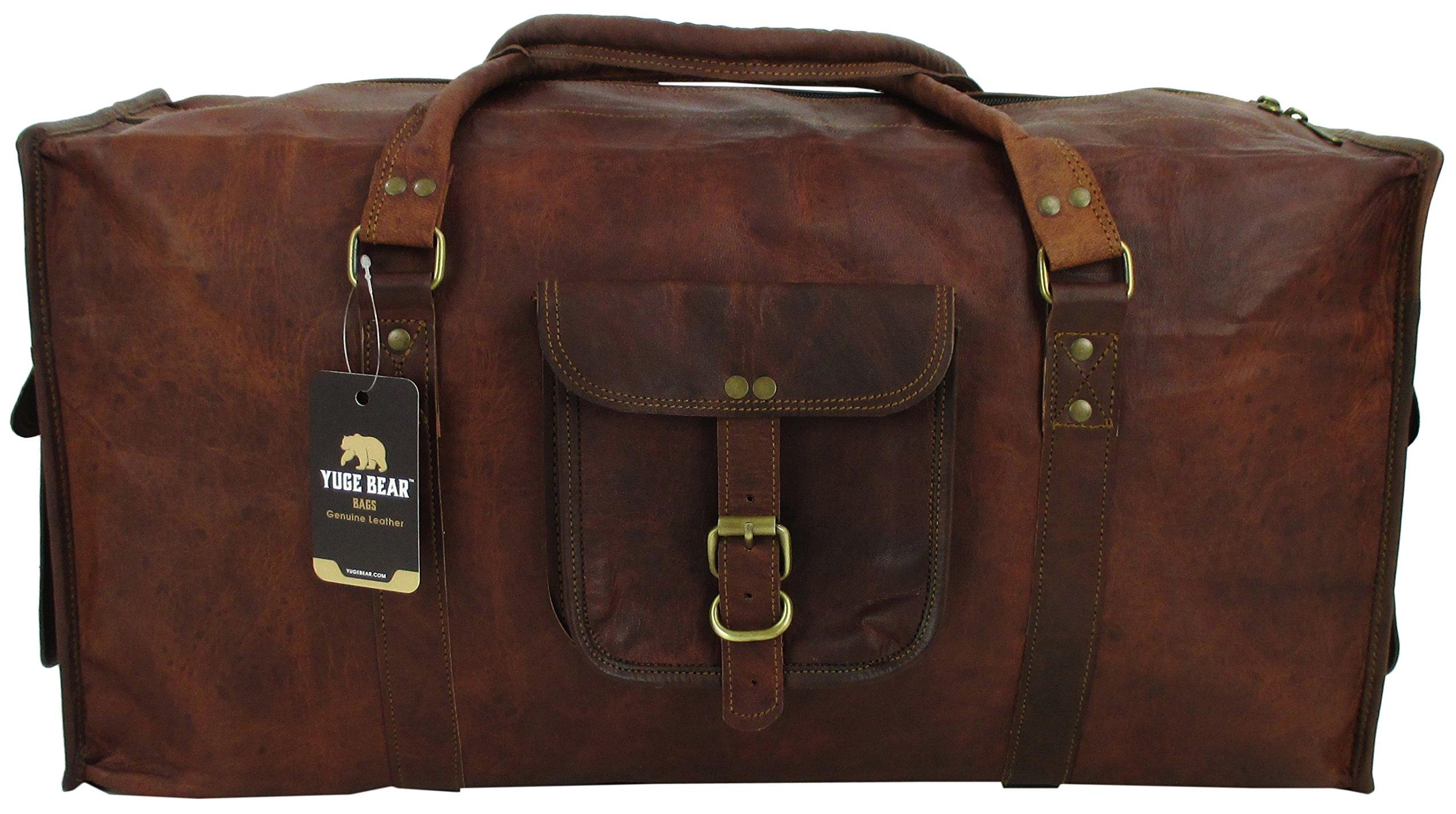 Yuge Bear 24'' DS1 Vintage Genuine Leather Carry On Weekender Duffel Bag by Yuge Bear