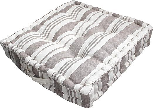 Cojín de suelo con 50 x 50 cm, diseño de rayas, color beige ...