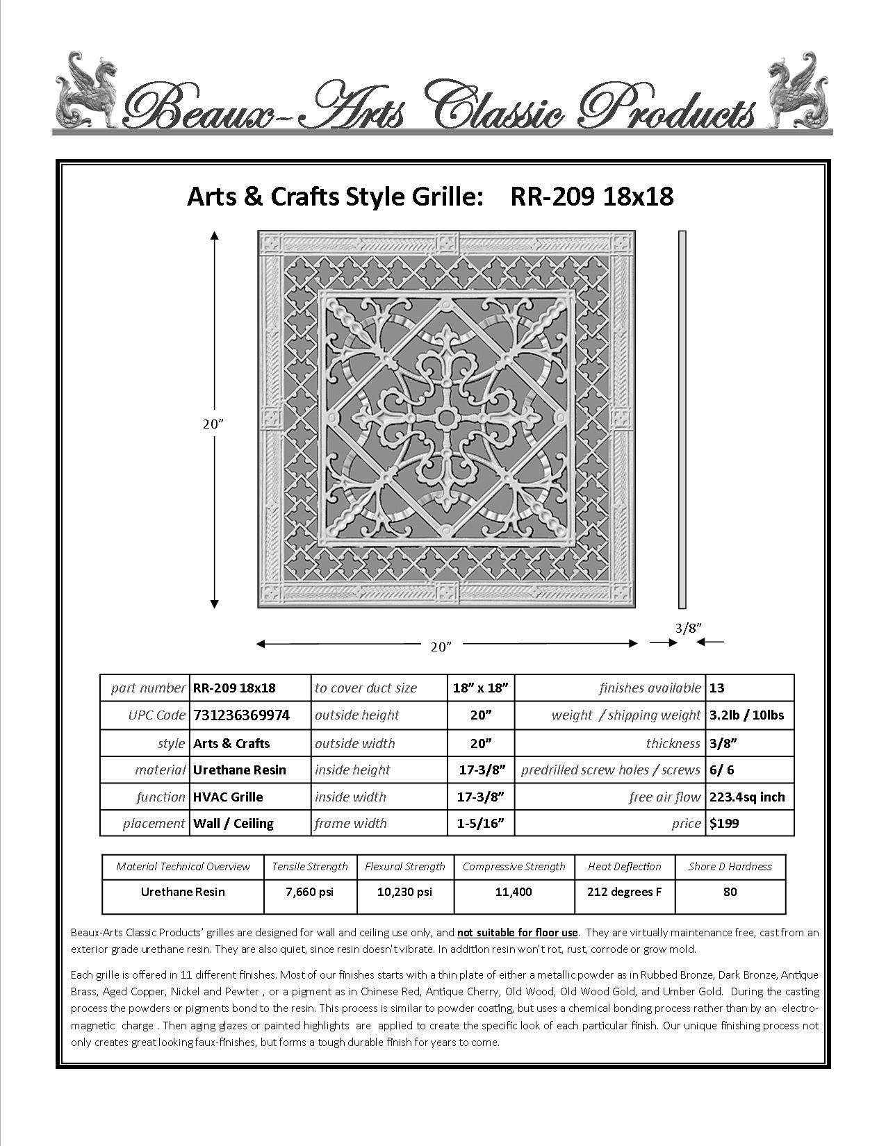 """Decorative Grille, Vent Cover, or Return Register. Made of Urethane Resin to fit over a 18''x18'' duct or opening. Total size of vent is 20""""x20''x3/8'', for wall and ceiling grilles (not for floor use)."""