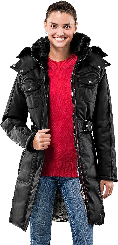 Vincenzo Boretti chaquetón Invierno de Mujer, Acolchado Caliente para temperaturas bajo Cero, Ribete de Piel sintética en el Cuello y Capucha con Forro Caliente Desmontables