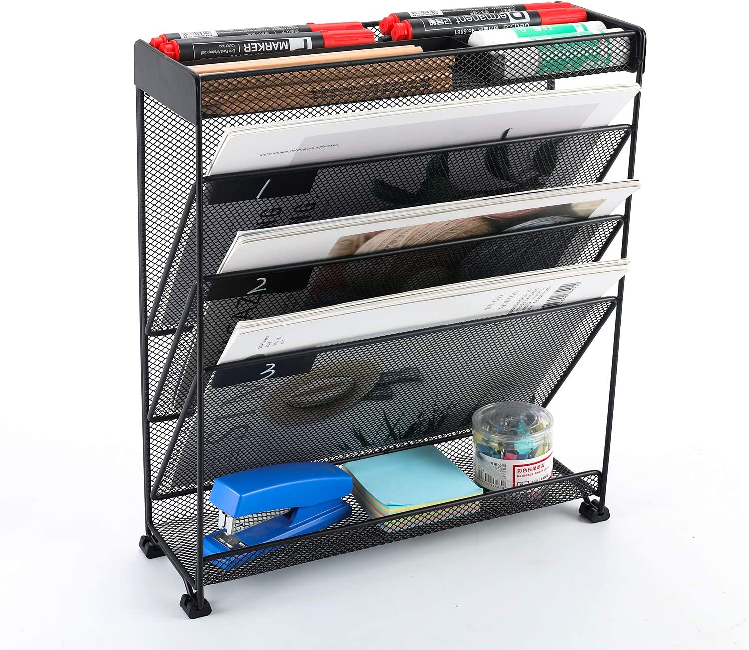EasyPAG Mesh Collection Wall Mounted File Holder with 3 Compartments Accessories Organizer,Black