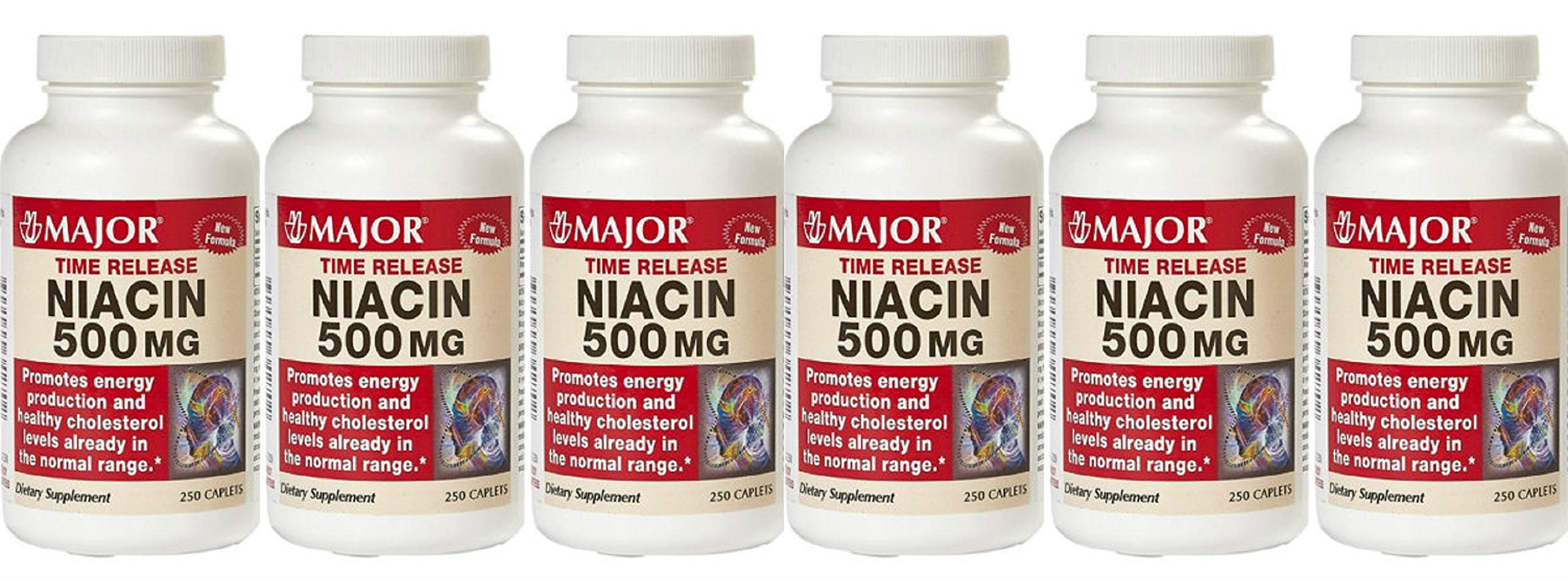 (6 Pack) MAJOR NIACIN TR 500MG CAPLETS NIACIN-500 MG White 250 CAPLETS UPC 309044342702