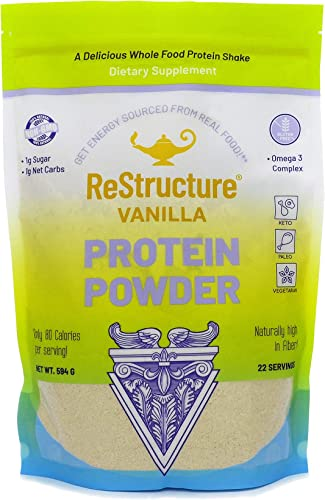 RnA ReSet – ReStructure Protein Powder, Keto, Paleo Formula, 1G Sugar, 1G Net Carb, Only 80 Calories per Serving. Creamy Vanilla, Non GMO – by Dr. Carolyn Dean