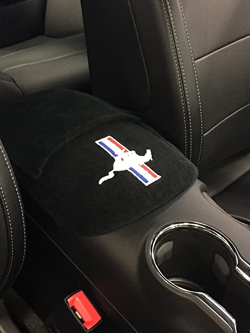 Mustang Horse Pony Custom Embroidered Logo Front Low Back Seat Covers and Bench Black Seat Cover Set