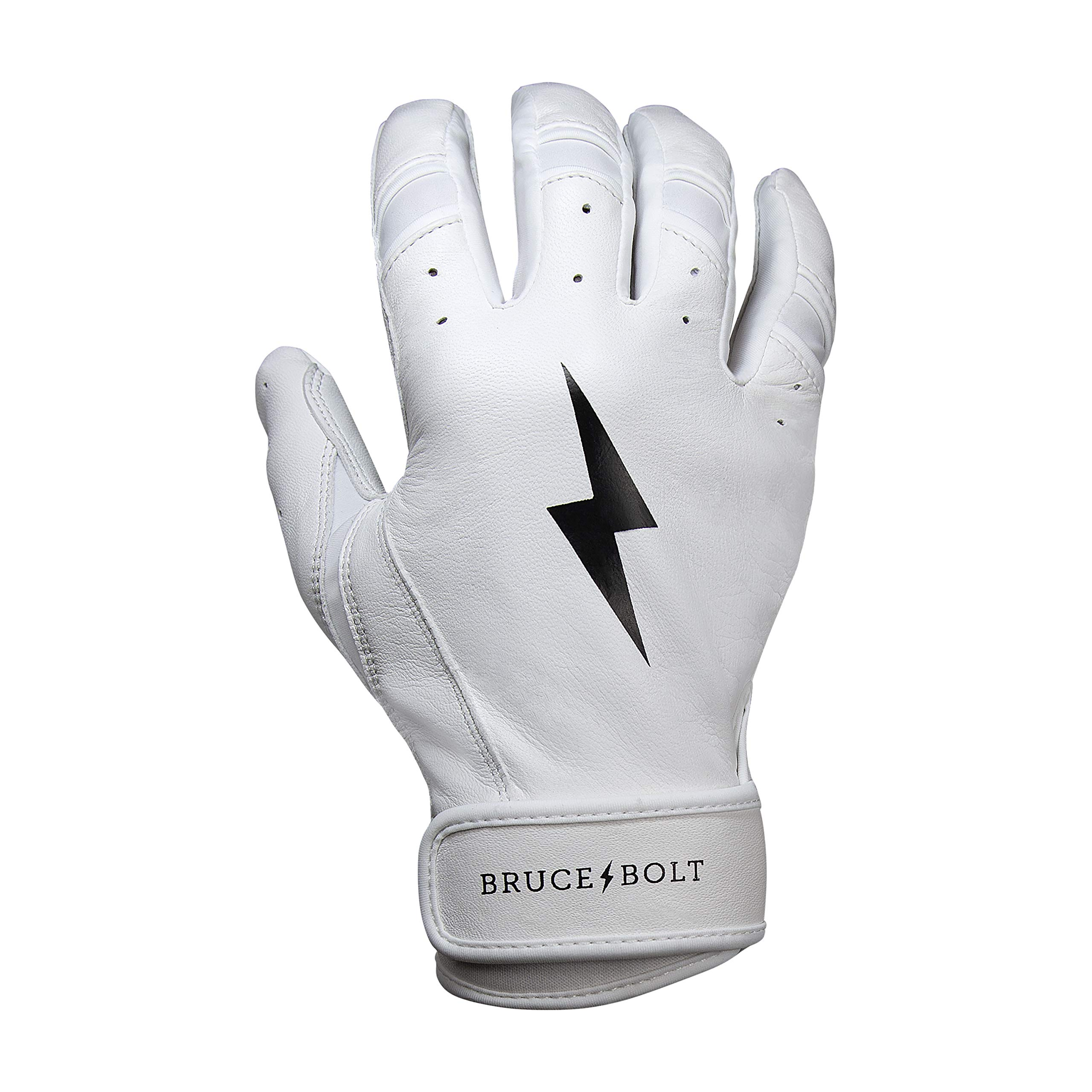 BRUCE+BOLT Premium Short Cuff Batting Gloves - White Medium SWM