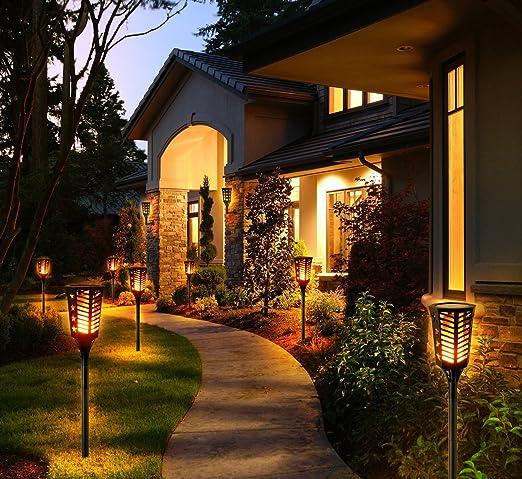 Ankway Luces solares tipo antorcha con llamas parpadeantes, impermeabilidad IP65, tira de luces Tiki, luces con 96 LED para el patio, jardín, decoración, ...