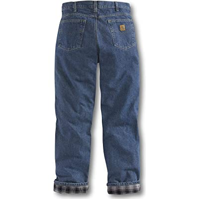 Carhartt Men's Relaxed Fit Straight Leg Flannel Lined Jean at Men's Clothing store: Flannel Lined Jeans