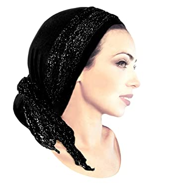 491b396e93261 Stunning black boho chic pre tied head-scarf with black   silver knit wrap  - 123 at Amazon Women s Clothing store  Headwraps Headwear