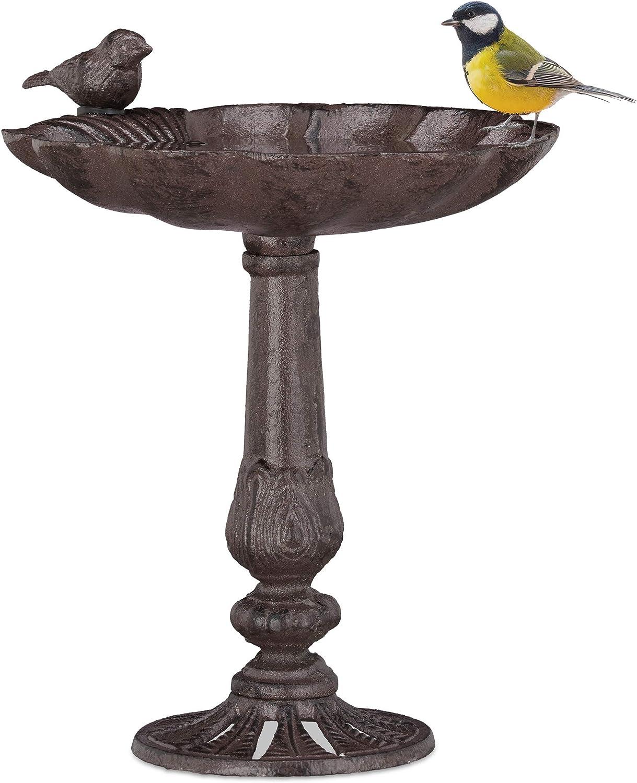Relaxdays, Marrón, Bebedero Pájaros de Pie, Hierro Fundido, 24,5 x 22 x 18 cm