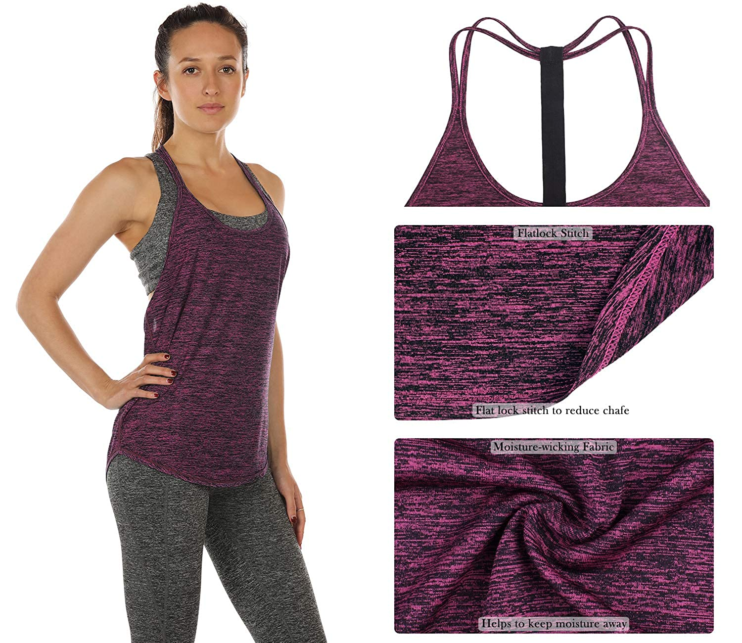 Athletic Yoga Tops T-Back Running Tank Top icyzone Workout Tank Tops for Women Pack of 2
