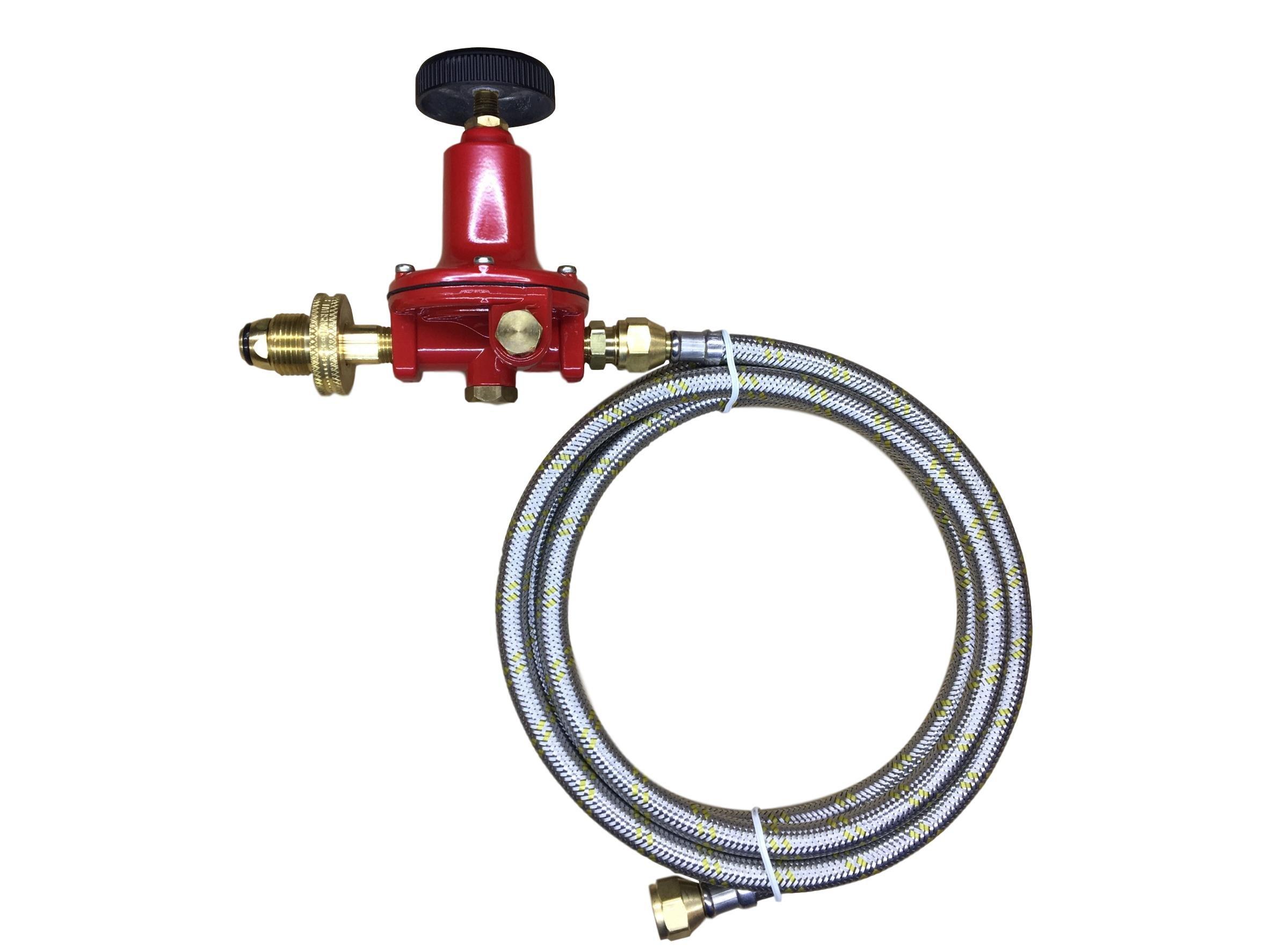 Propane LP Gas Adjustable 0-100psi High Pressure Regulator Soft POL Brass Hand Wheel Connector, Gauge and 16ft Stainless Steel Braided Hose