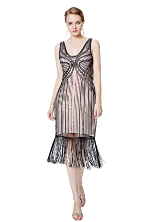 Metme Womens Vintage 1920s Inspired Fringed Beads Art Deco Gatsby Evening Party Dress: Amazon.co.uk: Clothing