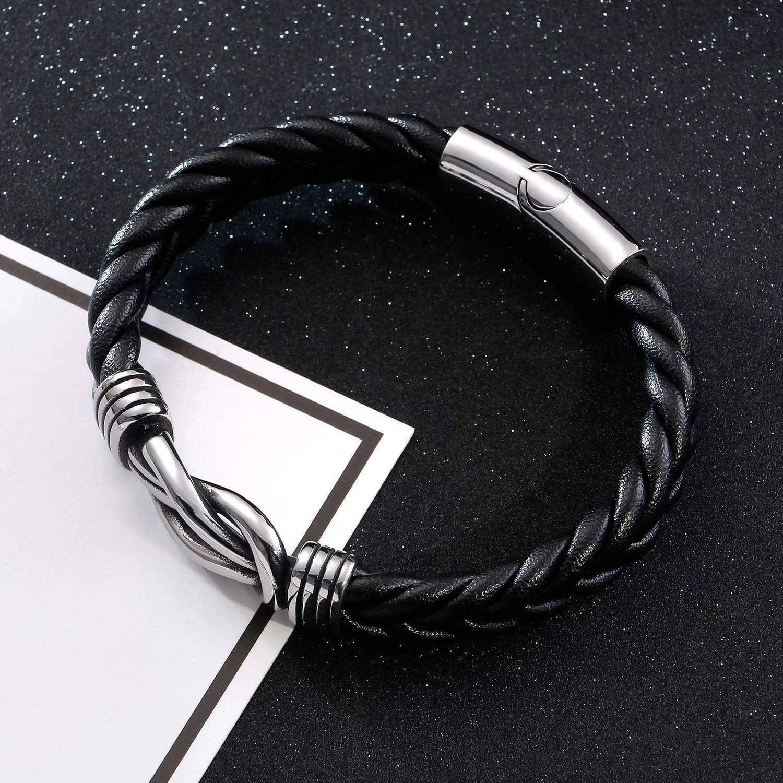 Bracelet en Acier Inoxydable Titane 316L Corde Tress/é pour Homme en Noir 21CM JO WISDOM Bracelet Homme