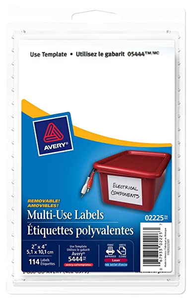 Avery Multi Use Removable Labels 4 X 2 White Rectangle 114