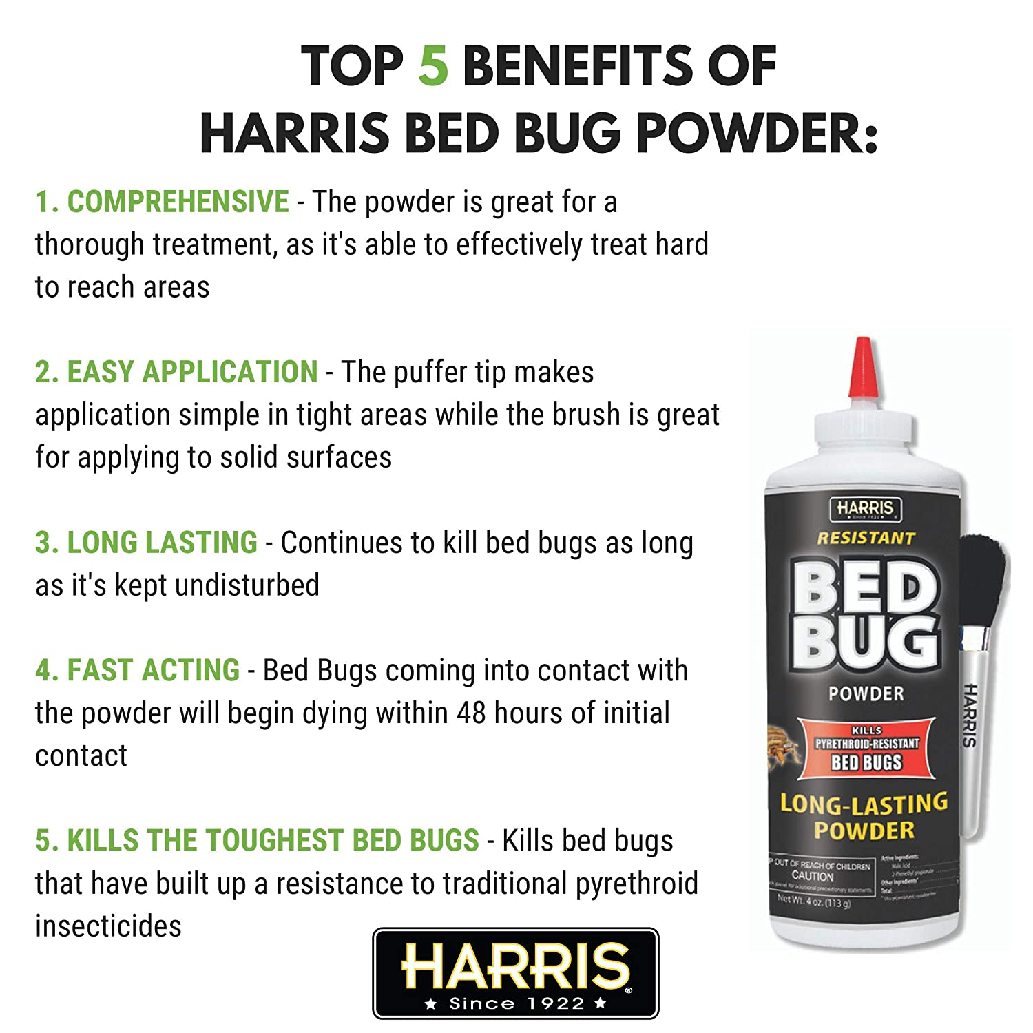 Harris Bed Bug Killer Powder, 4oz with Application Brush