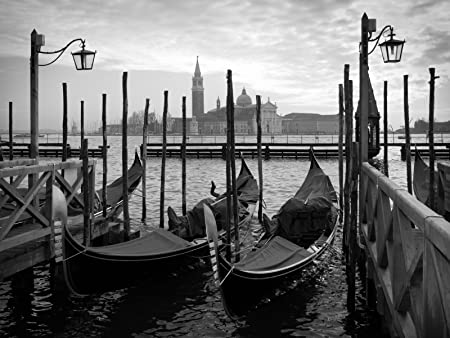 Gondolas in venice black and white a1 canvas art print poster 25 sale price