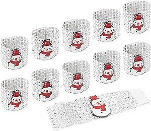 LOVEIFE 10 Pack Christmas Napkin Rings, Diamond Napkin Holders Fits for Xmas Party Dinner Table Decor (Snowman)